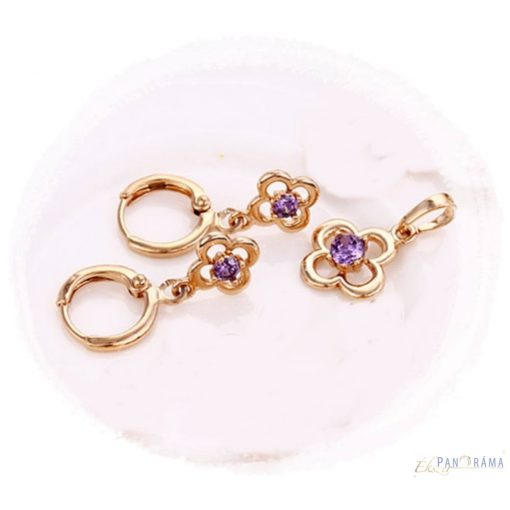 18K Gold filled  szett  Flower violet