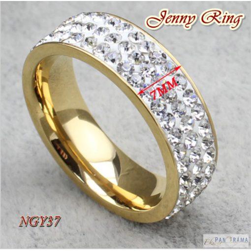 Arany színű nemesacél gyűrű cirkónia kristályokkal