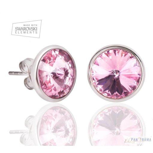 Eredeti Swarovski kristállyal készült beszúrós fülbevaló- Xénia Pink flower