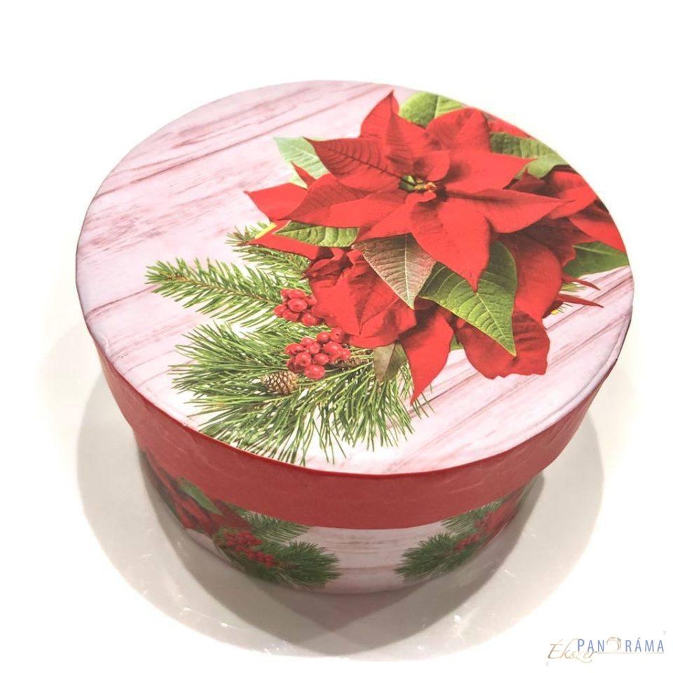 Díszdoboz kerek karácsonyi - Mikulásvirág