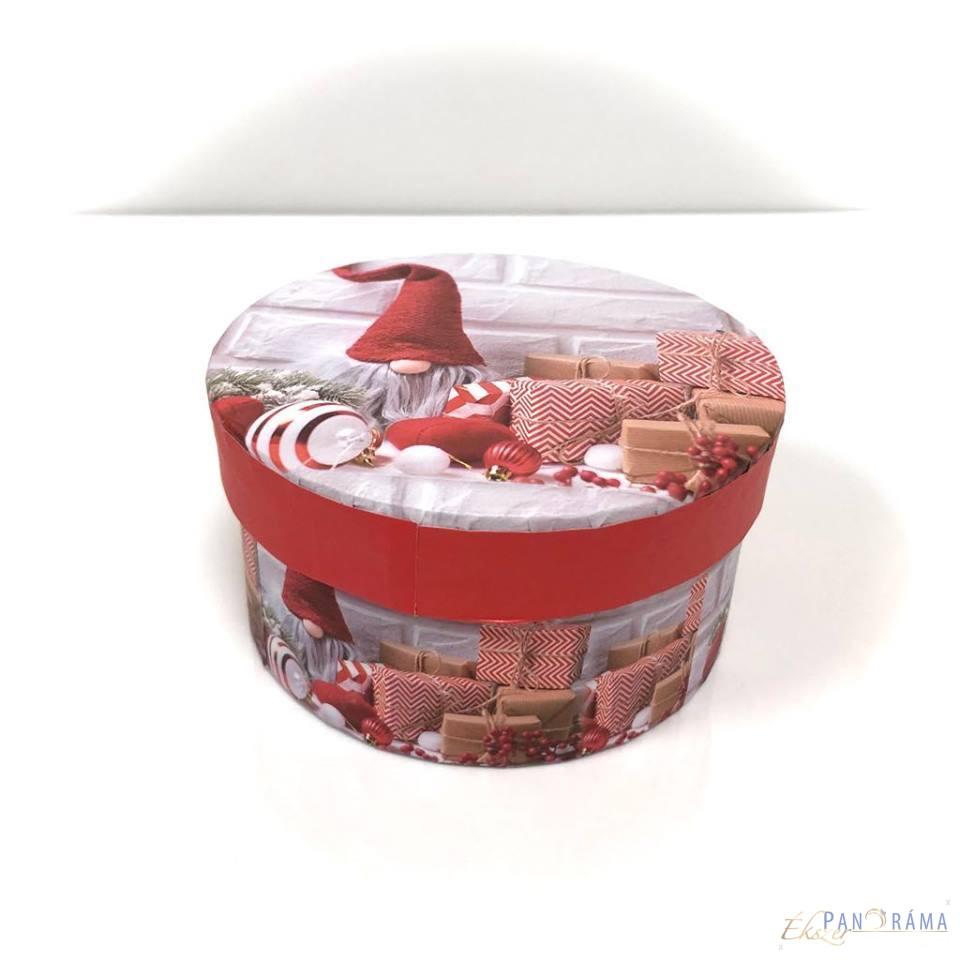 Díszdoboz kerek karácsonyi - Manós