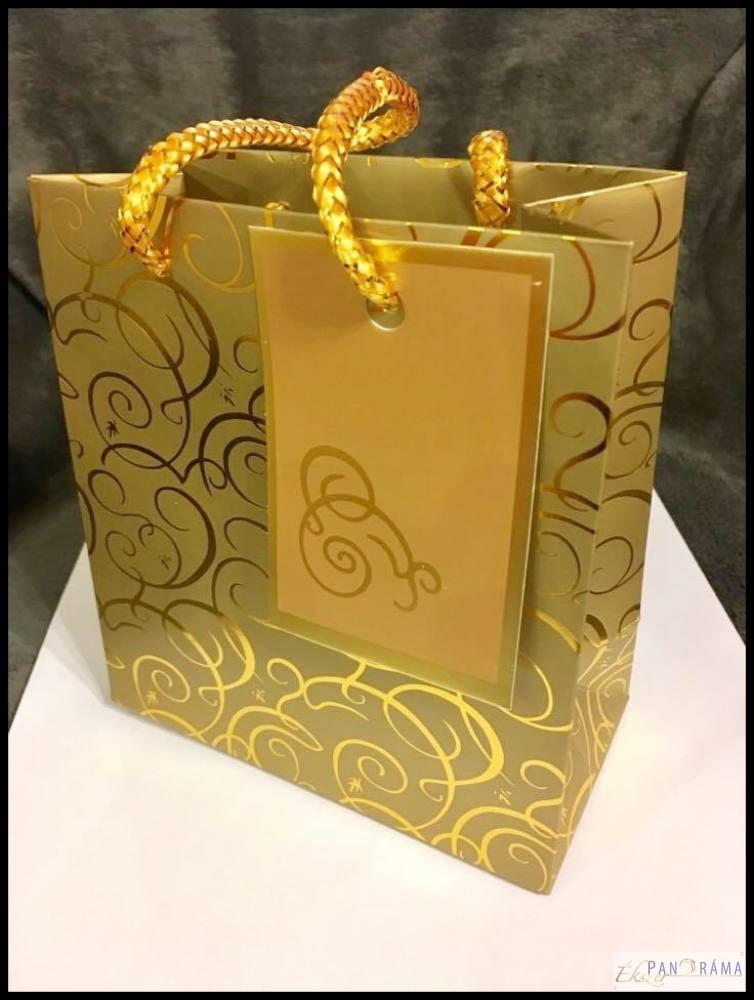 Dísztasak zsinóros - arany S 14x7x15 cm
