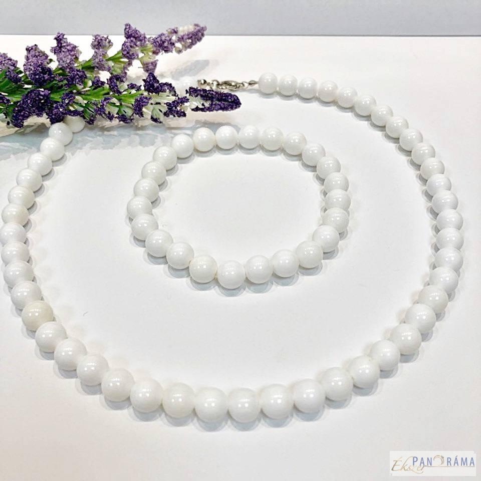 Gyöngysor szett , nyaklánc karkötővel - fehér