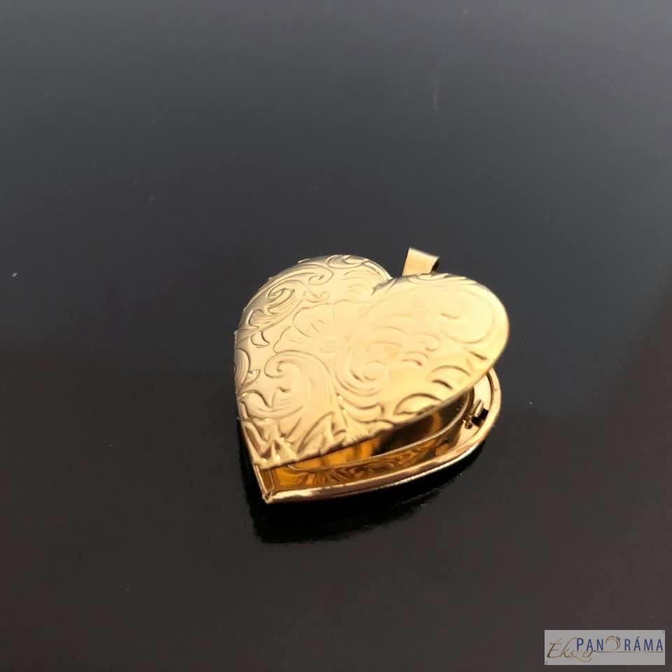 18 K nemes acél fényképtartós szív medál