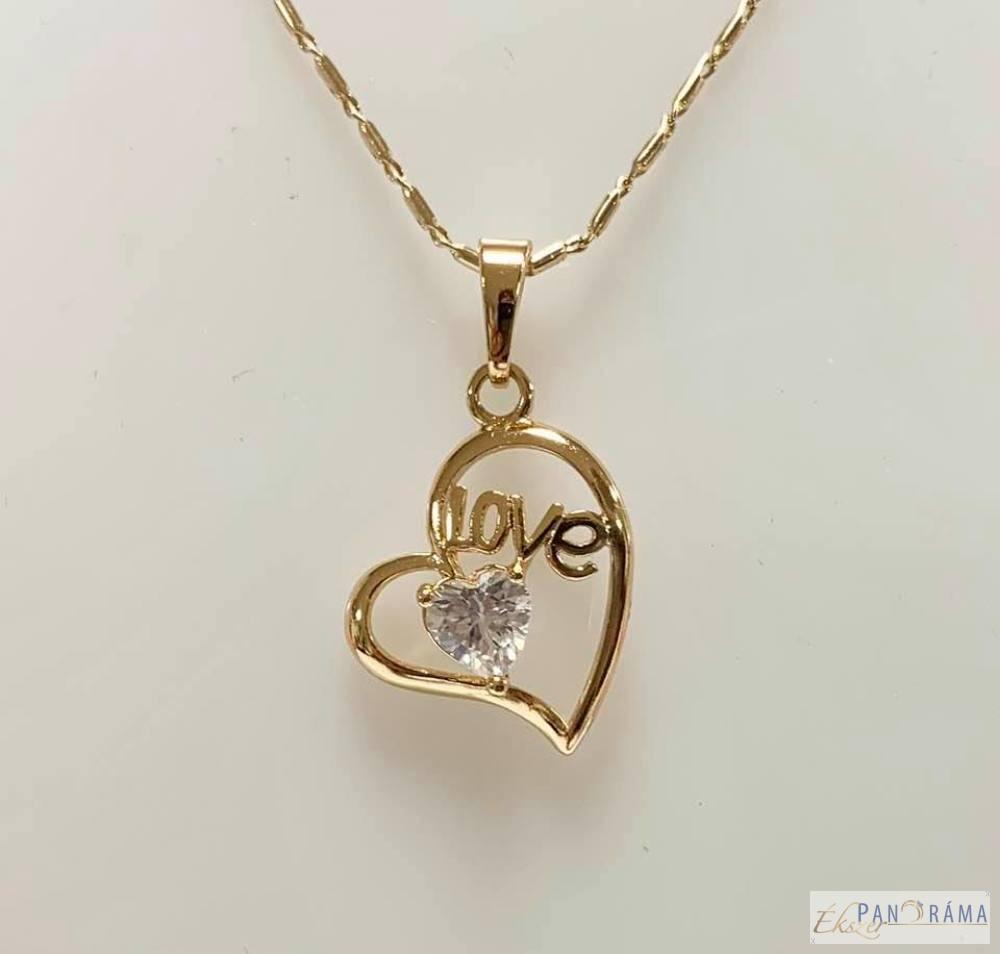 18 K Gold Filled szív medál-Love