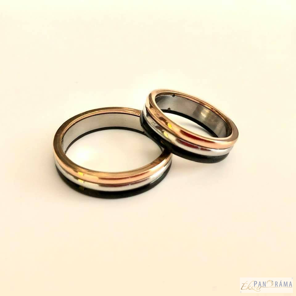 Nemesacél karika gyűrű Tricolor