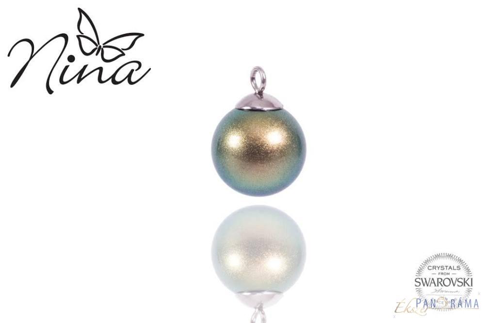 Swarovski elements kristályos zöld-arany gyöngy medál
